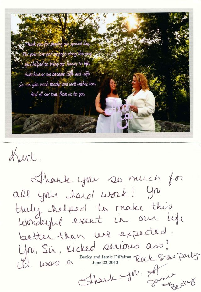 CT DJ Kurt Entertainment - Client 'Thank You' note
